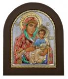 """Икона 11x13 """"Иерусалимская"""" Богородица (серебро; цвет, деревянная основа)"""