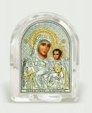 """Икона 6,8x8,4x2,3 """"Иерусалимская"""" Богородица (серебро; овал, стекло)"""