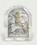 Икона 5,3x6,7x2,1 Георгий Победоносец (серебро; овал, стекло)