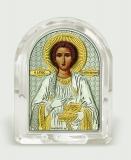 Икона 6,8x8,4x2,3 Пантелеимон (серебро; овал, стекло)