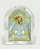 "Икона 6,8x8,4x2,3 ""Семистрельная"" Богородица (серебро; овал, стекло)"