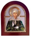 Икона 15,6x19 Матрона Московская (серебро; цвет, деревянная основа)