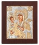"""Икона 8,5x9,6 """"Троеручица"""" Богородица (серебро)"""