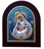 """Икона 15,6x19 """"Остробрамская"""" Богородица (серебро; цвет, деревянная основа)"""