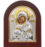 """Икона 15,6x19 """"Владимирская"""" Богородица (серебро; деревянная основа)"""
