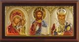 """Икона 9,3x5 """"Казанская"""" Богородица, Спаситель, Николай (серебро; триптих, цвет, шелкография)"""