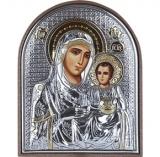 """Икона 4x5,6 """"Иерусалимская"""" Богородица (посеребрение; пластиковая основа)"""