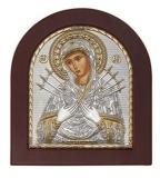 """Икона 20x25 """"Семистрельная"""" Богородица (серебро; деревянная основа)"""