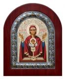 """Икона 11x13 """"Неупиваемая Чаша"""" Богородица (серебро; деревянная основа,шелкография)"""