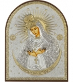 """Икона 4x5,6 """"Остробрамская"""" Богородица (посеребрение; пластиковая основа)"""