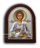 Икона 20x25 Пантелеимон (серебро; деревянная основа)