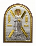 Икона 5,8x7,5 Андрей Первозванный (посеребрение; овал, деревянная основа)