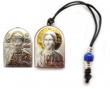 Икона авто 3,6х2,6 Христос Спаситель, Николай (серебро; подвеска, двусторонний)