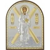 Икона 4x5,6 Андрей Первозванный (посеребрение; пластиковая основа)