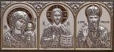 """Икона 10,1x4,6 """"Казанская"""" Богородица, Спаситель , Николай (посеребрение; триптих)"""